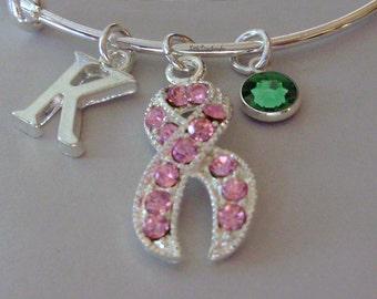 Awareness Pink Crystal Ribbon Bangle W/ Birthstone / Initial Bangle Breast Cancer Bracelet / Personalize Bangle - / Gift USA C1