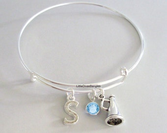 Megaphone / CHEERLEADER Bangle Bracelet  W/ A Birthstone - Initial/ School Sports  Under Twenty / Sports Team Gift  For Her USA  SC1