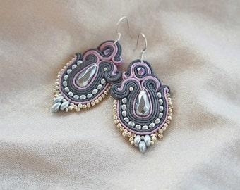 Graphite Powder braid earrings soutache