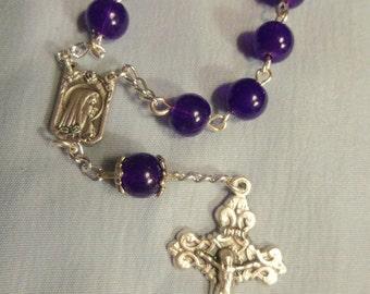 Purple glass Single Decade Rosary, Finger Rosary