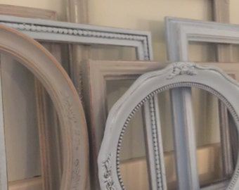 Shabby Chic Distressed Picture Frame Set, Serene Blue/Gray Set, Set of 8, Mix & Match