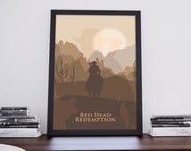 Red Dead Redemption inspired A3 video game poster print