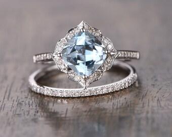 2pcs Aquamarine Bridal Set 7mm Cushion Cut Vintage Floral Aquamarine Ring,Diamond Pave Wedding Ring Half Eternity Band