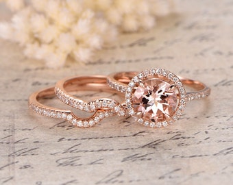 8mm Round Cut Morganite Engagement Ring,3 Rings Set,Curved Wedding Band,Art Deco,14K Rose Gold,Bridal Set,2 Matching Bands,Wedding Ring Set