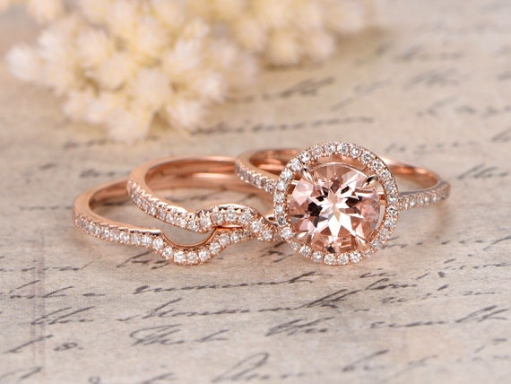 8mm Round Cut Morganite Engagement Ring,3 Rings Set,Curved Wedding Band,Art Deco,14K Rose Gold,Bridal Set