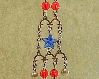 Star Spangled Banner Earrings - Unique Handmade Beaded Jewelry