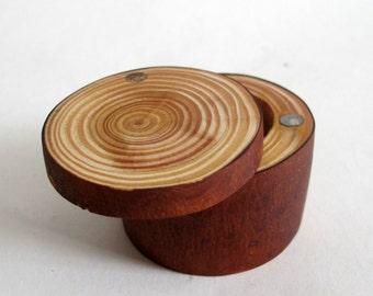 Rustic Wood Ring Box, Small Wooden Ring Box, Natural Larch Wood, Ring Bearer Box