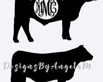 Show Steer SVG Monogram Initials SVG Digital cutting file  Instant Download - Use on your cutting machine Vector File .EPS