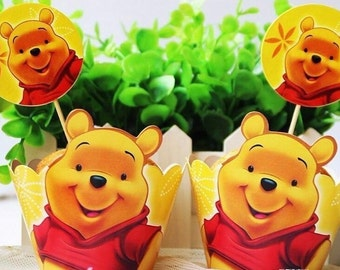 24 Piece Winnie the Pooh Cupcake Wrappers and toppers Pooh Bear cupcake Cupcake toppers