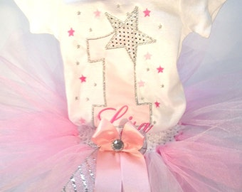 Pink Silver Star 1st Birthday Outfit Onesie Tutu and FREE Hair Bow Personalized