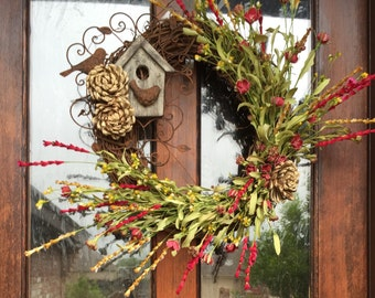 Summer birdhouse wreath
