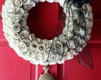 """22"""" Wreath - Upcycled Vintage hymn Wreath: bookish, Flowers, Church, Gift, Anniversary, Music, Bookish Creations,"""