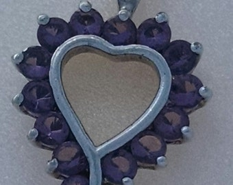 Price Reduced!!  Plus FREE SHIPPING! – Stunning Stamped 925 Sterling Silver Heart Pendant with Amethyst