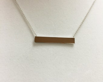Sterling Silver Bar Necklace.  Sterling Silver Chains Included.