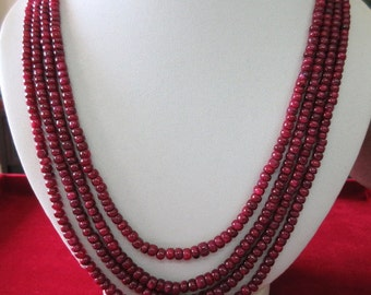 4 Strand Ruby Bead Necklace, Natural Ruby Smooth Rondelle Beads, 3.5mm To 5.5mm Beads, 20 Inch To 22 Inch Strand, GDS77
