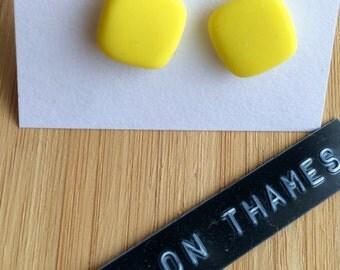 Sunshine Yellow Square Stud Earrings