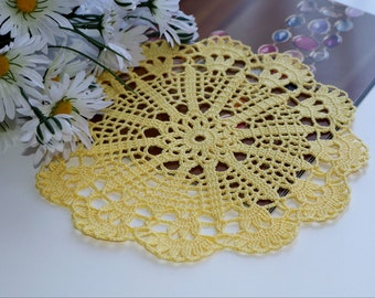 Yellow doily, Crochet doily, Round crochet doily, Handmade doily, crochet lace doily, Crochet table decoration, Crochet placemat