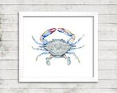 Crab Watercolor Print. Beach House Decor. Cottage Wall Art. Crab Painting. Coastal Art. Nautical Art.