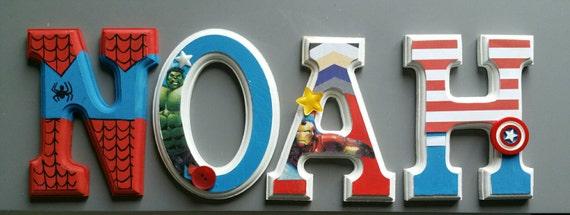 Lettres murales avengers super h ros d coration murale - Deco chambre avengers ...