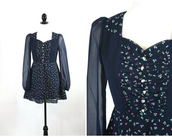 60's Babydoll Dress / Navy Blue Mod Floral Mini Dress with Sheer Sleeves / Size S Small