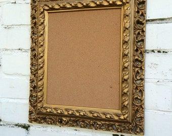 Gold cork board prnate message board pin board vintage pin board