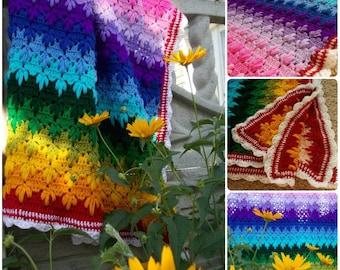 Crochet Baby Blanket Rainbow 60 х 60 Inches Rainbow Baby Gift Rainbow Blanket Crochet Baby Afghan Rainbow Baby Gift Baby shower gift cover