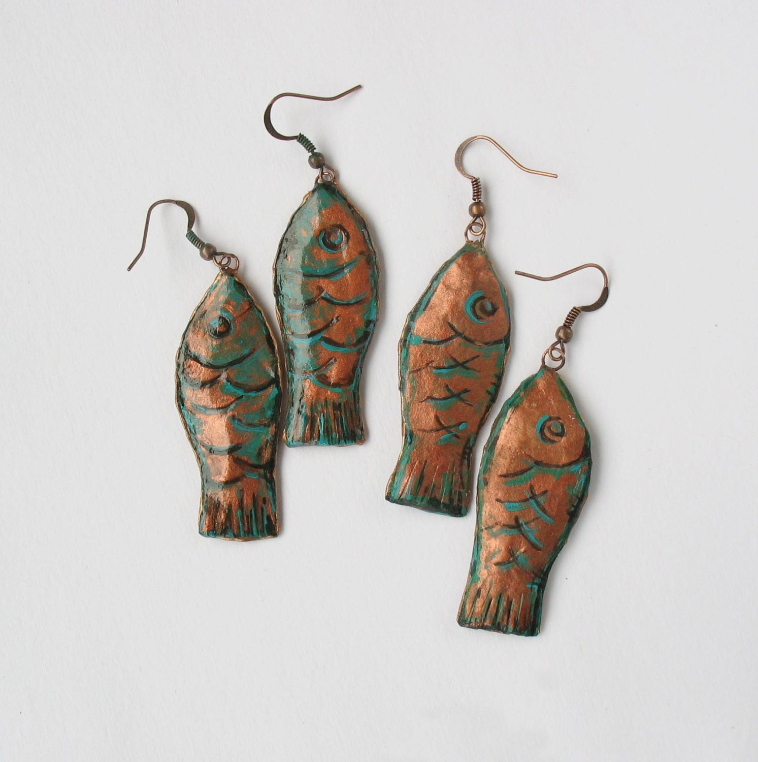 Paper earrings papier m ch papier mache fish earrings for How to make paper mache jewelry