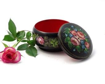 Black Trinket Box - USSR Trinket Box - Floral Jewelry Box - USSR Folk Art  - Handpainted Jewelry Bowl - Gift for Her