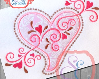 Applique Heart Swirls Design For Machine Embroidery INSTANT Download