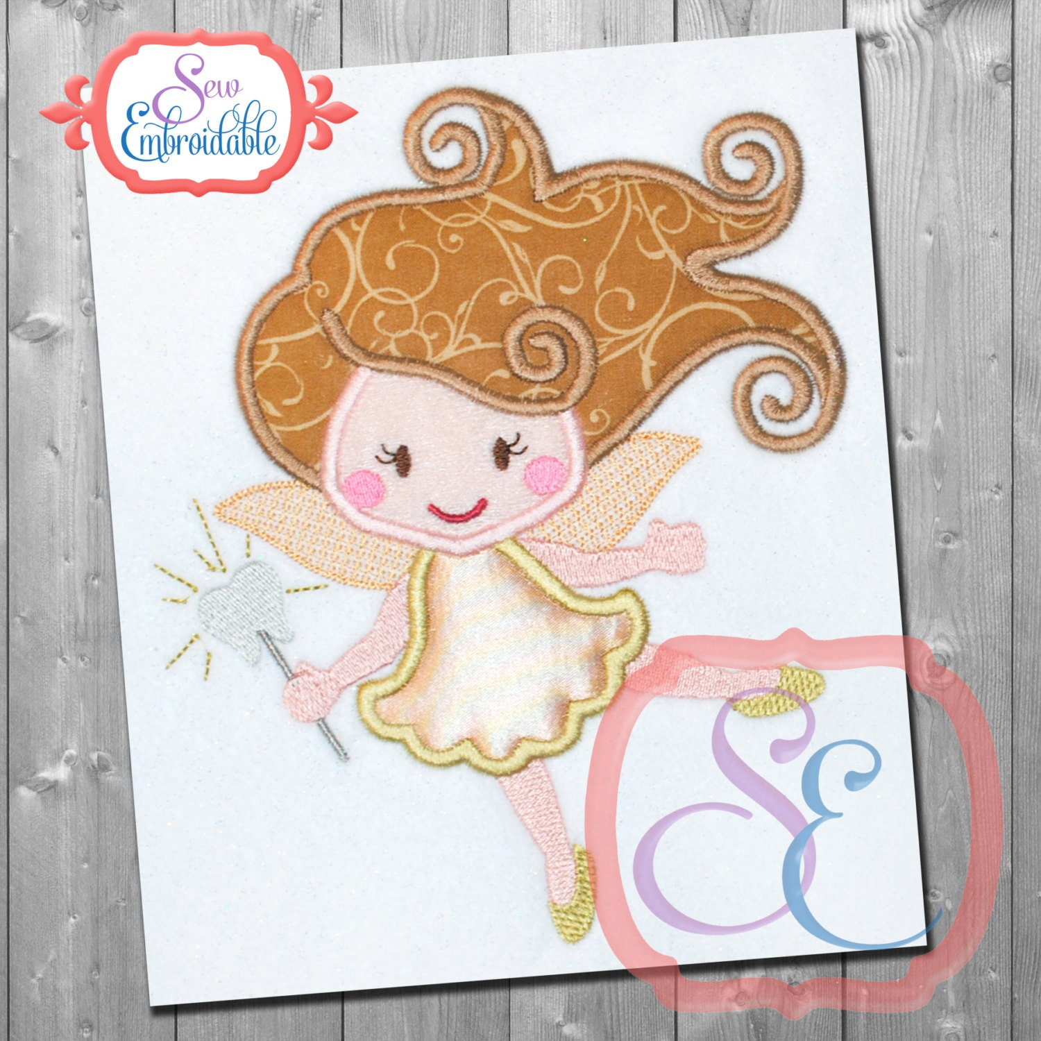 Tooth fairy applique design for machine embroidery instant