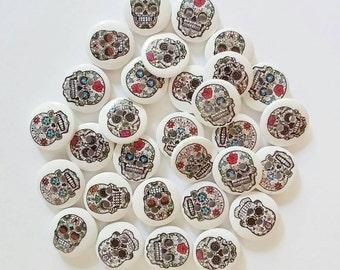 Wooden Skull Buttons x 10