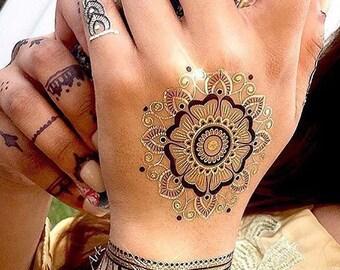 HennaBK Metallic Henna inspired temporary flash tattoos Black & Gold Mandalas