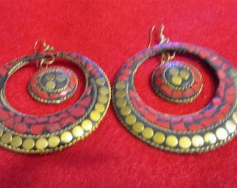 Beautiful Black, Gold, and Red Fashion Earrings