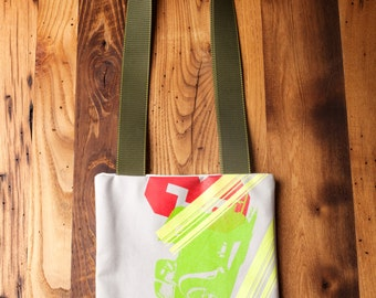 One of a Kind Handmade Screen Printed Tote Bag Gray and Lime Green 3
