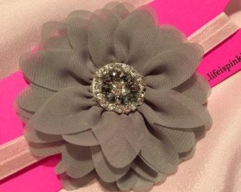 Silver Sparkle Oversized Flower Headband