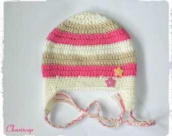 Baby hats, cotton, pink, wool white