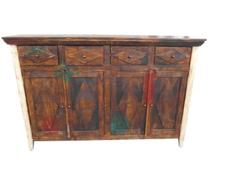72 inch credenza/ tv stand / buffet made with reclaimed wood multicolored