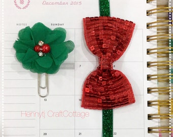Planner Band & Clip Set. Christmas / Holiday Red Sequin glitter Band and Green Planner Clip. Erin Condren /Plum Paper Design / filofax