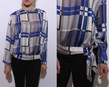 80s satin plaid blouse sheer panels see through striped patterned printed tie waist long sleeve sash top shirt blue silver gray white L XL