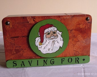 """Wooden Coin Bank with Santa Clause's head (with """"Hidden"""" coin access)"""