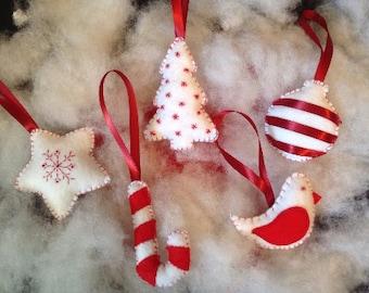 Christmas Ornaments//Recycled Felt Christmas Ornaments//Red and White Ornaments//Handmade Ornaments