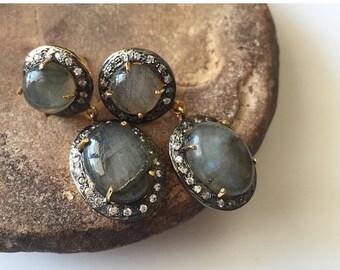 ON SALE 20% Labradorite Dangle Earrings with Zircon Border/Gemstone Statement Earrings - Earrings for Women - DE300