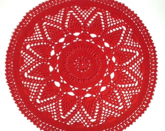Crocheted Red Doilie (#03-12-4)