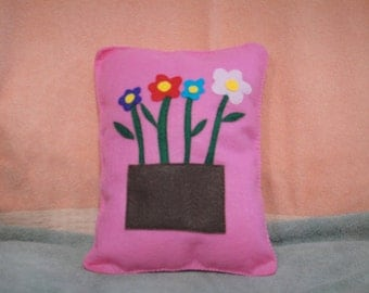 Spring flowers, felt pillow