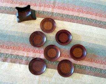 Vintage Wood Coaster Set with Holder / Redwood