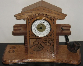 Handmade Dragon Smoking Pipe Stand and Clock