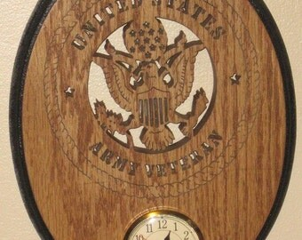 United States Military Army Veteran Oval Clock