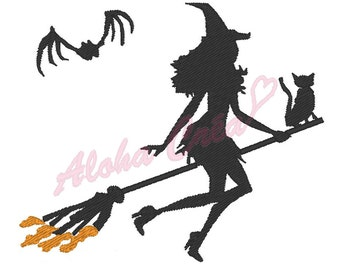 Machine Embroidery Design Witch halloween (3 sizes) - Instant Digital Download