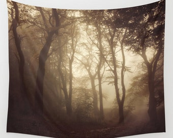 Tree tapestry, woods tapestry, bedroom decor, autumn, wall hanging, foggy, large wall art, woodland, trees, nature decor, landscape tapestry