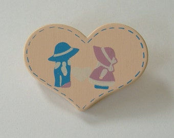 Beige Heart Lapel Pin, Heart Shaped Pin, Country Themed Pin, Blue Pink Hats On Pin, Wooden Heart Pin